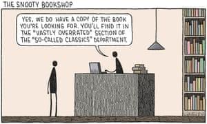 Tom Gauld illustration of bookshop