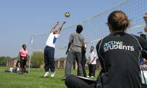 University of Hertfordshire students playing volleyball