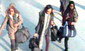 Handout still taken from CCTV issued by the Metropolitan Police of (left to right) 15-year-old Amira Abase, Kadiza Sultana,16 and Shamima Begum,15 at Gatwick airport, before they caught their flight to Turkey.