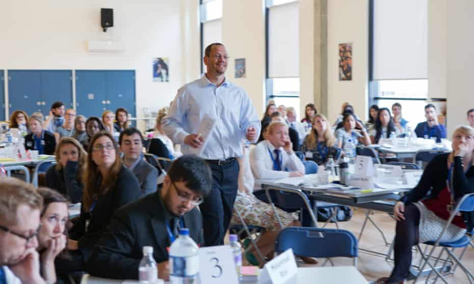 Doug Lemov passes on his classroom tips to a workshop of newly qualified teachers, at Walworth Academy, London.