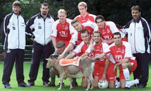 And by the players. Here's some of the 2002/2003 squad with their mascot