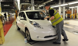 A Nissan Leaf electric car at the company's Sunderland plant. Four of the models will be provided as ministerial cars.