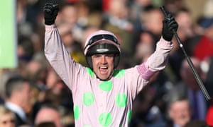 Ruby Walsh celebrates after winning the Champion Hurdle on Faugheen.