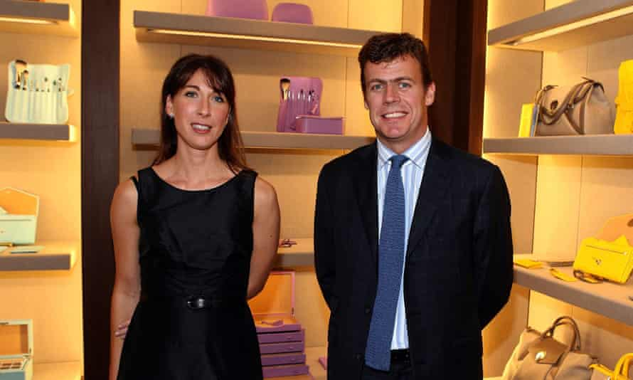 Samantha Cameron, former Smythson creative director, poses with CEO Paddy Byng at a launch party in Beverly Hills, California, in 2007.