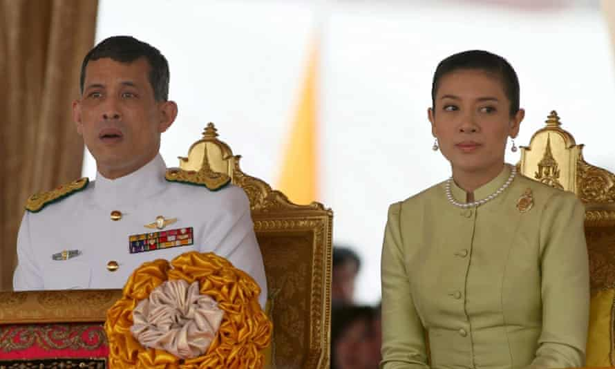 Thailand's Crown Prince Maha Vajiralongkorn and his then wife Princess Srirasmi. The parents of the princess have been jailed for defaming the monarchy.