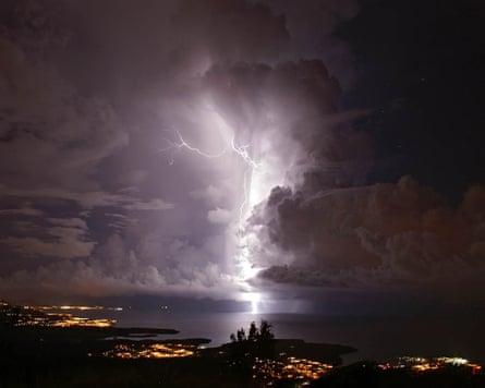A flash of Catatumbo Lightning in Zulia, Venezuela