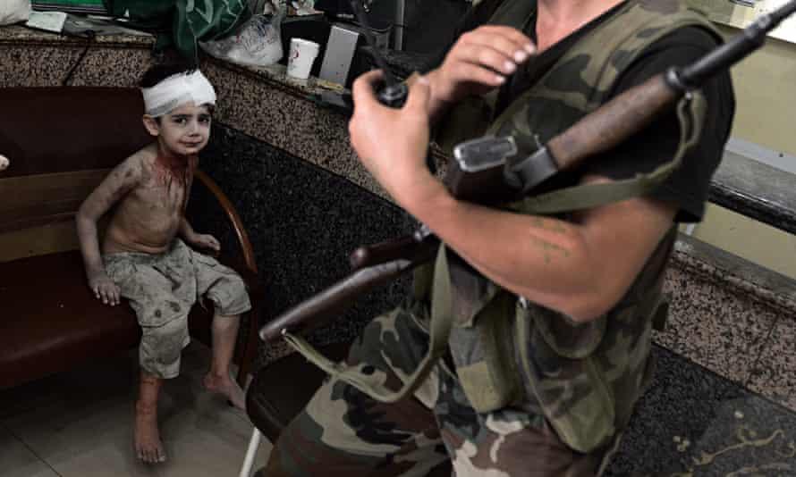 Injured Syrian child