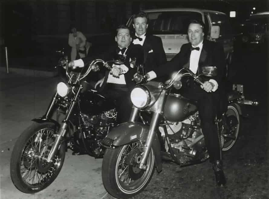 Chef Jeremiah Tower on a motorcycle to the Black and White Ball in April 1982.
