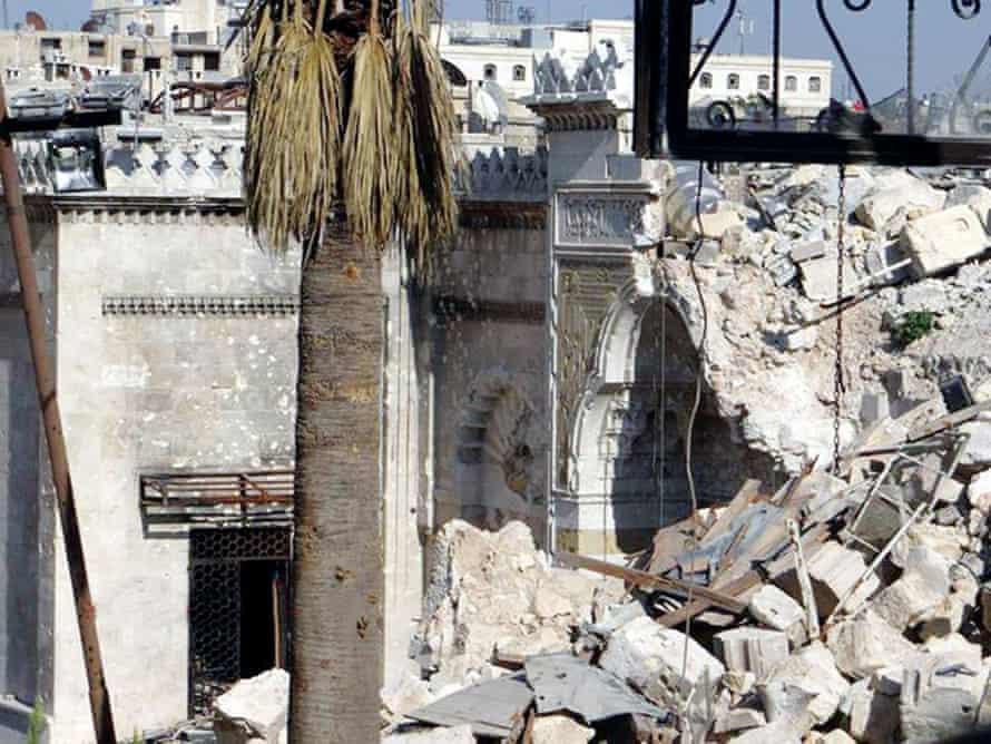 The ruins of Umayyad Mosque, Aleppo.