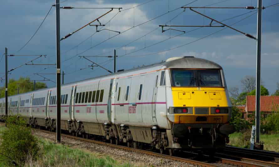 A train on the east coast mainline at Moss in South Yorkshire