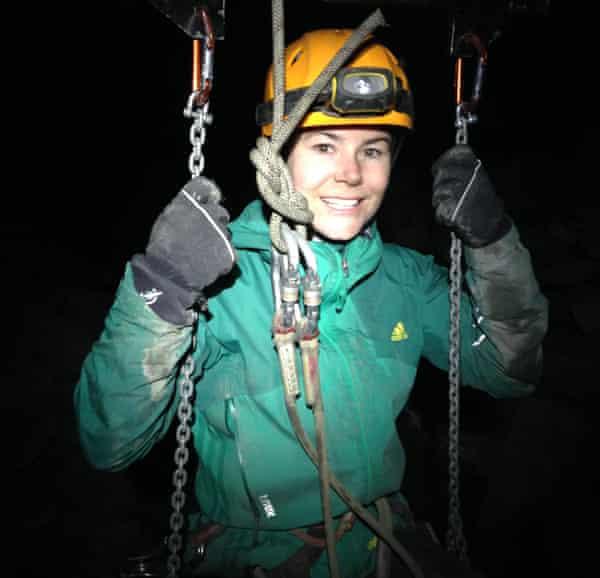 Rachel Dixon prepares for the zipline ride