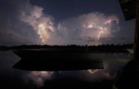 Lightning strikes over Lake Maracaibo in Congo Mirador village