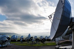 View of the antenna field in Luxembourg that controls communication satellites above the Northern Hemisphere