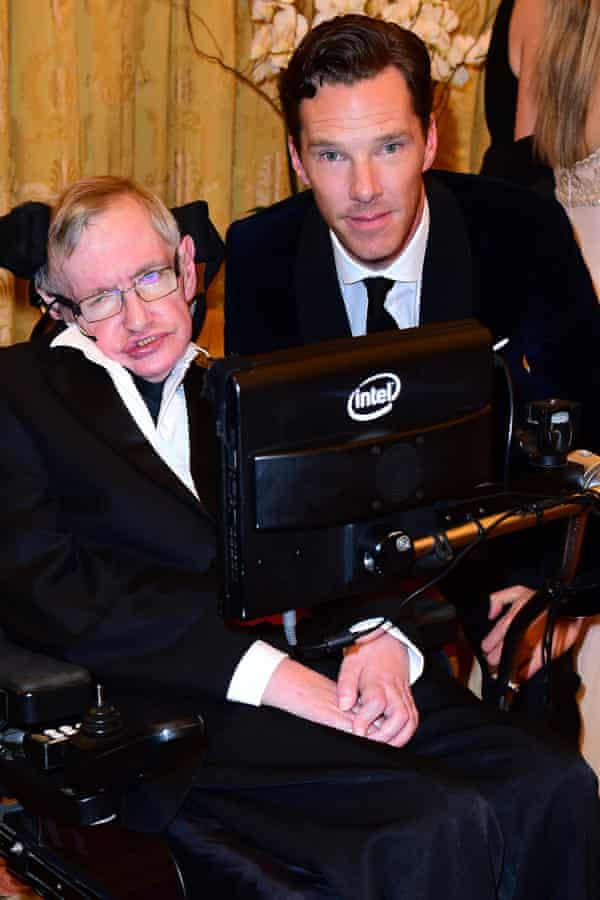 Prof Stephen Hawking and Benedict Cumberbatch at the MNDA reception.