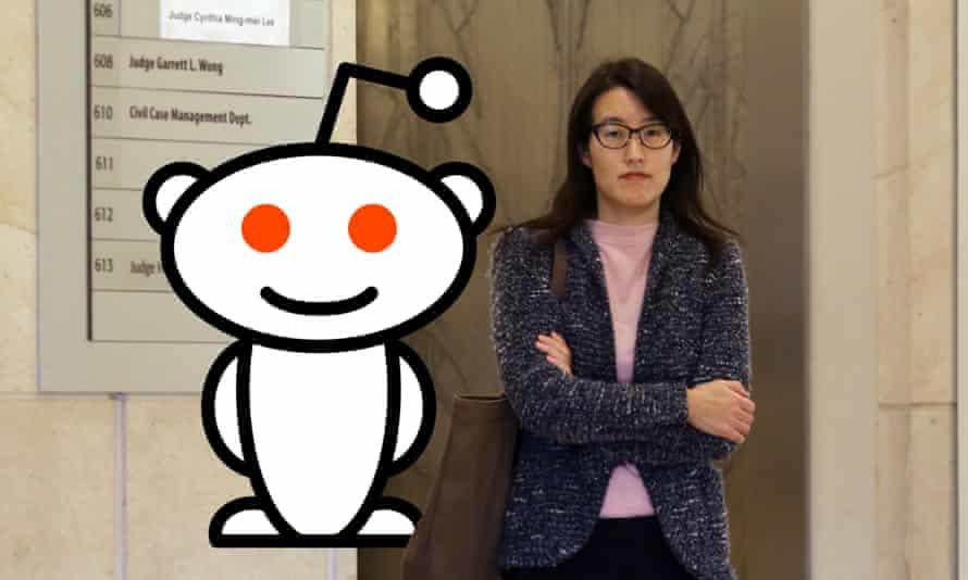 Reddit's Alien logo and CEO Ellen Pao.