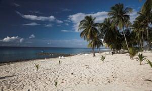 The beach front at the resort in Maria La Gorda in Cuba.