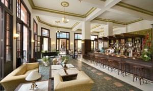 The lobby and bar of the Ambos Mundos Hotel, Havana