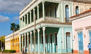 Colonial houses in Remedios, Cuba.