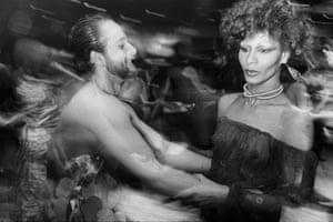High fashion model Potassa de la Fayette, Salvador Dalí's favorite transvestite on the dance floor, 1978 Hasse Persson Studio 54