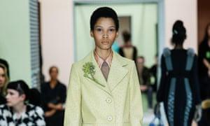 Lineisy Montero on the Prada catwalk.