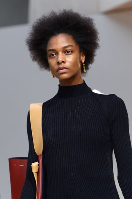 Karly Loyce, on the catwalk for Celine during autumn/winter 2015 Paris Fashion Week.