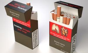 Examples of standardised cigarette packs.