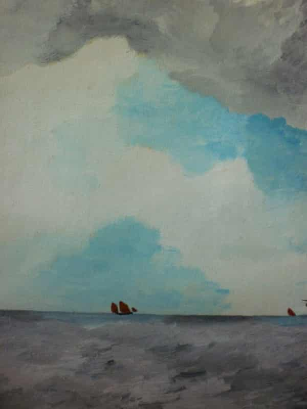 Watercolour of the tiny boat with big sea from the Sylvia Townsend Warner Collection.