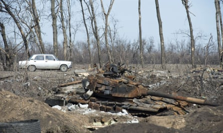 remains of a Ukrainian tank is pictured near the town of Nikishyne