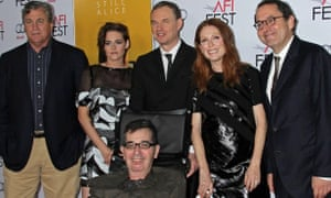 November 2014: Richard Glatzer (front), who alongside husband Wash Westmoreland (back centre) directed Julianne Moore and Kristen Stewart in Still Alice. Also pictured are two Sony Pictures executives.