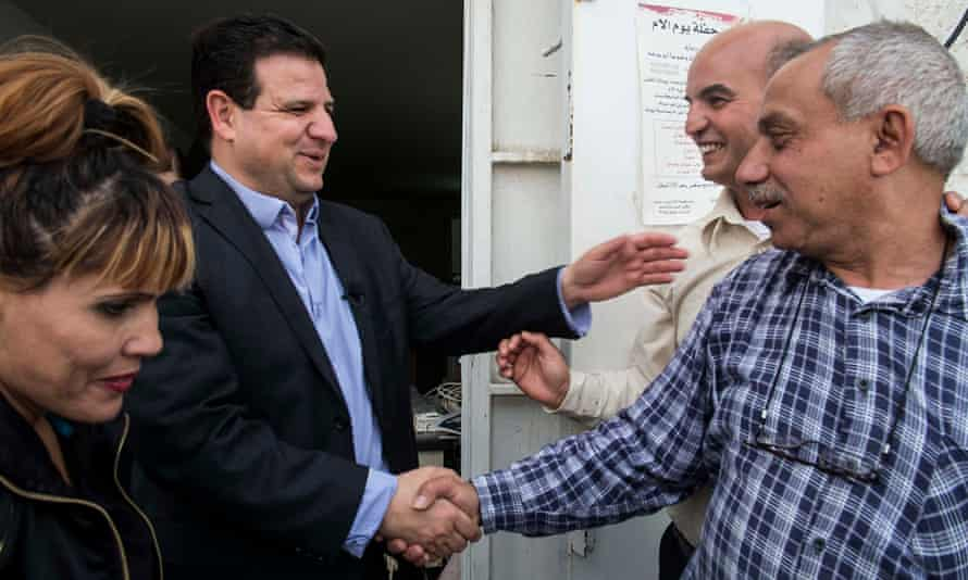 Ayman Odeh, leader of the Joint List of Israeli Arab parties who have combined for the first time meets supporters in the city of Lod amid a surge in support for his party that could see it becoming the Knesset's third biggest bloc