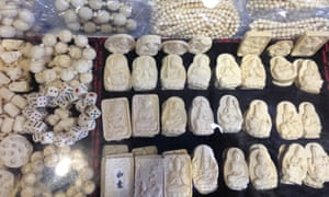 Mass produced ivory products on sale in a shop in China