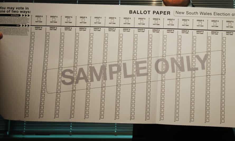 NSW ballot paper