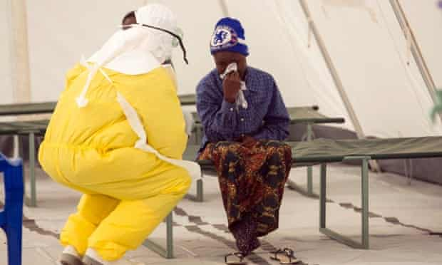 Ebola health worker and patient