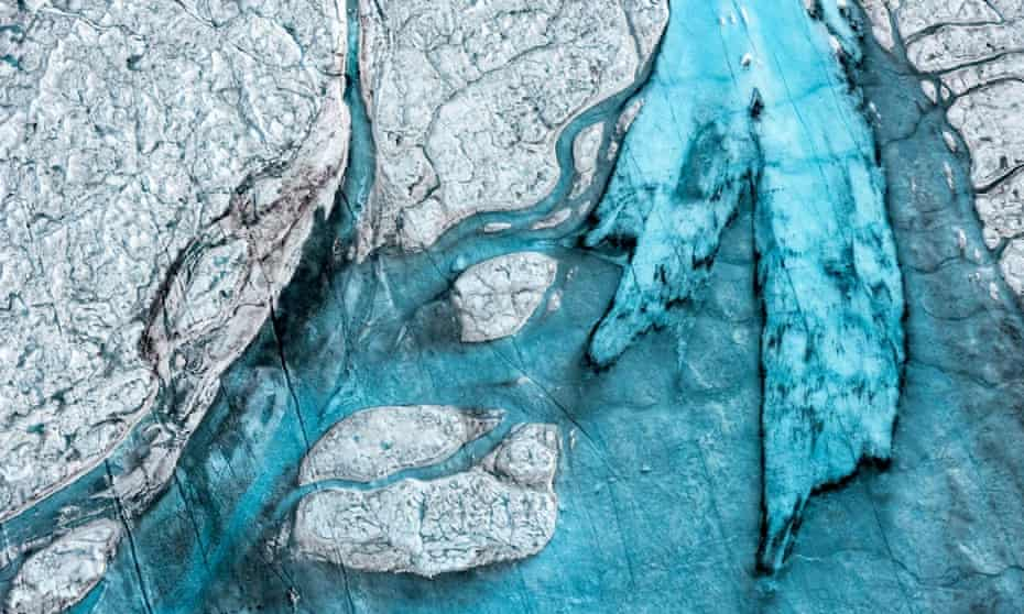 Melting ice and dark snow due to pollution August 19th, 2014 near Ilulissat, Greenland, on August 19, 2014