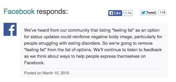 Facebook statement removing fat emoji