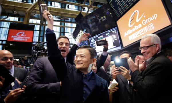 Alibaba founder Jack Ma on the company's first day of trading on the New York Stock Exchange in September 2014.