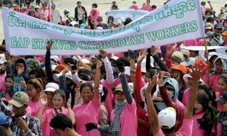Cambodian workers protest for higher wages in Phnom Penh