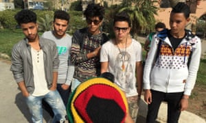 Five Egyptians pose for a Famous-style photoshoot