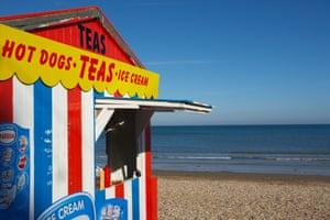 Beach hut selling ice-cream at Weymouth, Dorset.