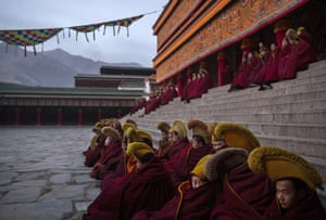 Monks gather at Labrang monastery in Gansu province, China, one of the six great monasteries of the Gelug, or Yellow Hat, school of Tibetan Buddhism and one of the largest outside of Tibet.