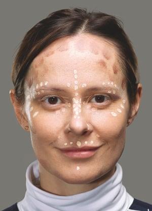 Rachel, the makeup artist, sketches a plan on Imogen's face using dots. It's a little like an Ordnance Survey map.