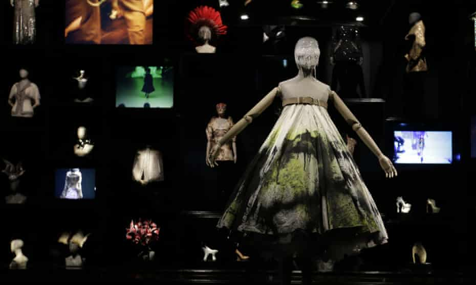 A dress worn by model Shalom Harlow, who became a human canvas for spray robots at a McQueen show in 1998