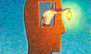 Man Holding Light From Inside A Head