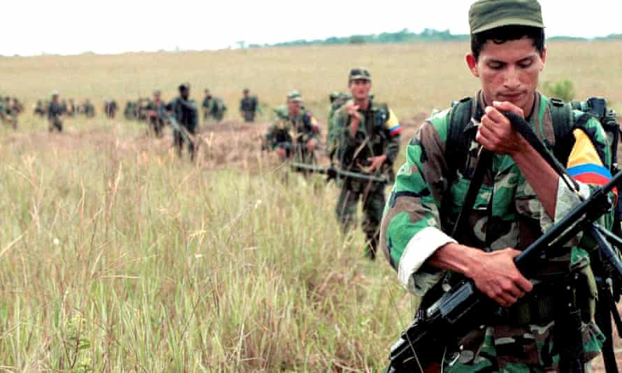 Farc fighters performing military exercises