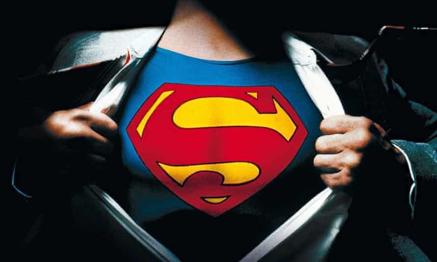 Superman pulls his shirt open