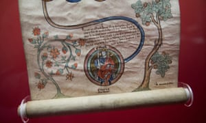 A 14th century scroll illustrating the geneolagy of King John 1199-1216 on show at the British Library.