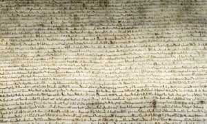 A section of the Magna Carta that was found in a London tailor's shop in the early 17th century.