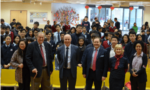 Richard Leakey, Paula Kahumbu, and Rupert McCowan of the Royal Geographical Society - Hong Kong, with the Principal, Robert Parker, and teachers from the Victoria Shanghai Academy in Hong Kong at a Schools Outreach lecture