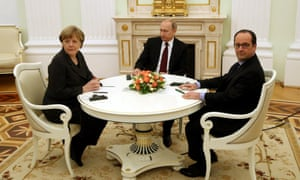 Cameron wasn't at the table when Merkel and Hollande met Putin to discuss the Ukraine crisis.