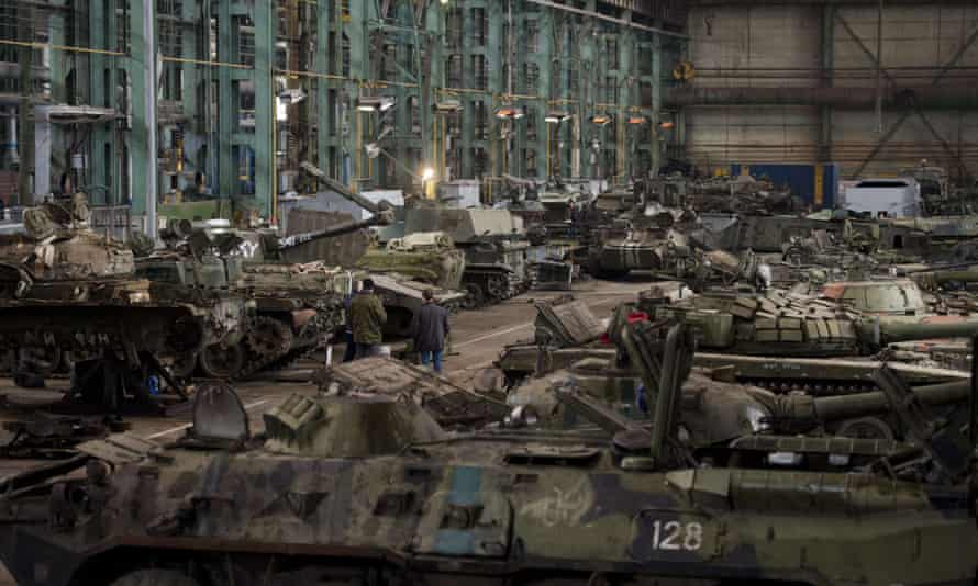 In a factory that produces heavy machinery for the mining industry, a tank repair workshop in the rebel stronghold of Donetsk has been going for eight months.